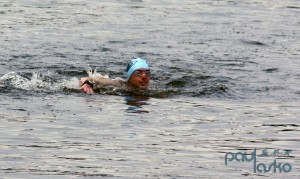 Trying to get to the end of the swim course.